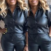 Lovely Casual Turndown Collar Black PU Blouse