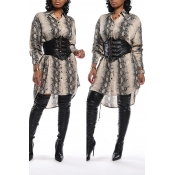 Lovely Chic Print Silver Knee Length Dress(Without