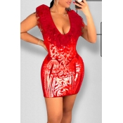 Lovely Party Patchwork Red Mini Prom Dress