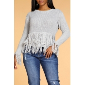 Lovely Trendy Tassel Design Grey Sweater