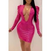 Lovely Sexy Deep V Neck Pink Mini Dress