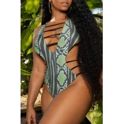 Lovely Bohemian Hollow-out Green Plus Size One-pie