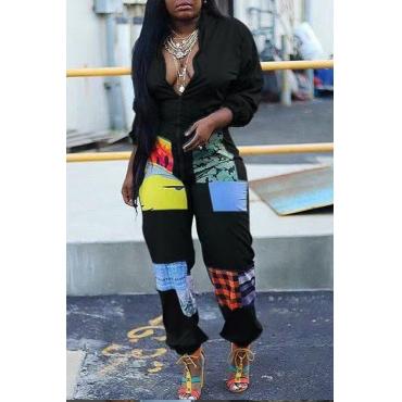 Lovely Trendy Patchwork Black One-piece Jumpsuit