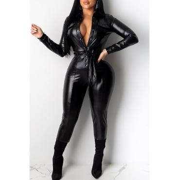 Lovely Trendy Buttons Design Black One-piece Jumpsuit