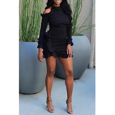 Lovely Sweet Flounce Patchwork Black Mini Dress