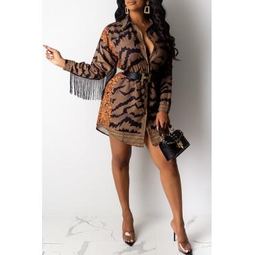 Lovely Trendy Tassel Design Printed Brown Mini Dress(Without Belt)