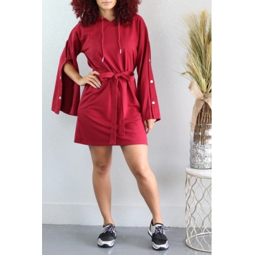 Lovely Leisure Hooded Collar Buttons Design Red Mini Dress