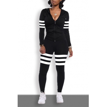 Lovely Sportswear Striped Patchwork Black Two-piece Pants Set