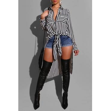 Lovely Trendy Striped Black Blouse