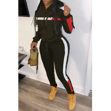 Lovely Trendy Hooded Collar Patchwork Black Two-piece Pants Set