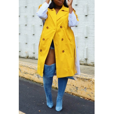 Lovely Casual Patchwork Buttons Yellow Trench Coat