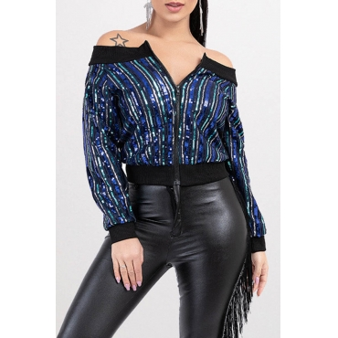Lovely Casual Sequined Patchwork Blue Coat