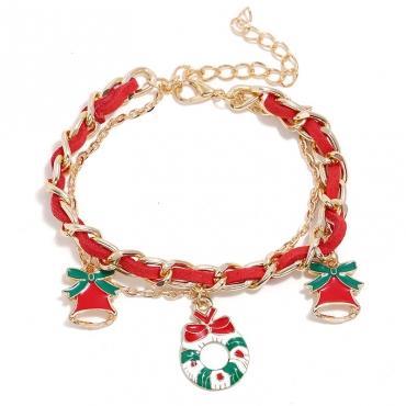 Lovely Christmas Day Patchwork Red Alloy Bracelet