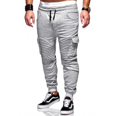 Lovely Casual Patchwork Light Grey Pants
