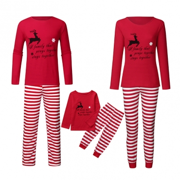 Lovely Family Striped Printed Red Kids Two-piece Pants Set