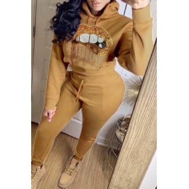 Lovely Leisure Hooded Collar Lip Khaki Two-piece Pants Set