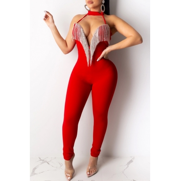 Lovely Sexy Tassel Design Red One-piece Jumpsuit