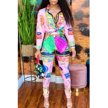 Lovely Sweet Turndown Collar Printed Multicolor Two-piece Pants Set