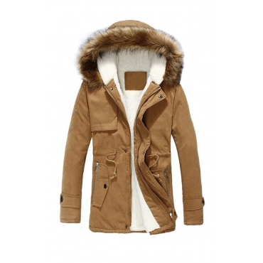 Lovely Winter Hooded Collar Velvet Lining Khaki Cotton-padded Clothe