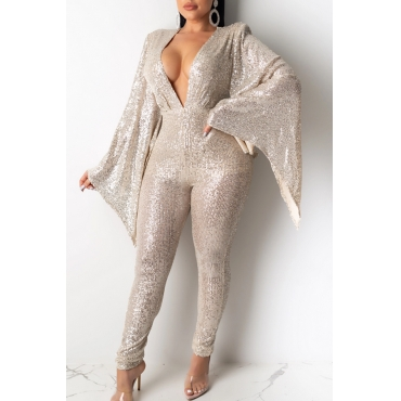 Lovely Sexy Deep V Neck Sequined White One-piece Jumpsuit
