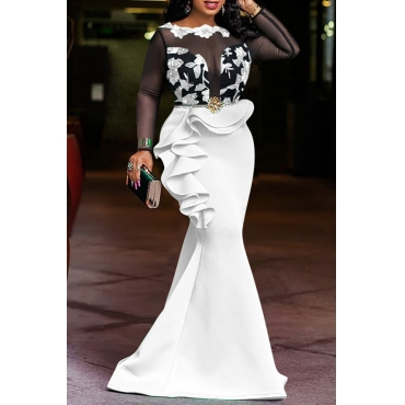 Lovely Party Patchwork Flounce White Floor Length Prom Dress