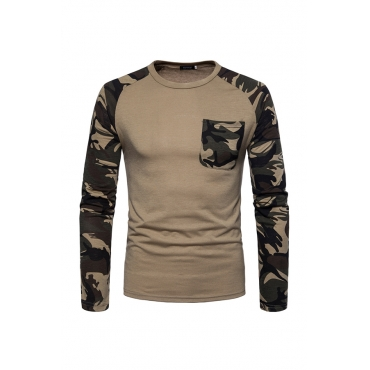 Lovely Casual Patchwork Khaki T-shirt