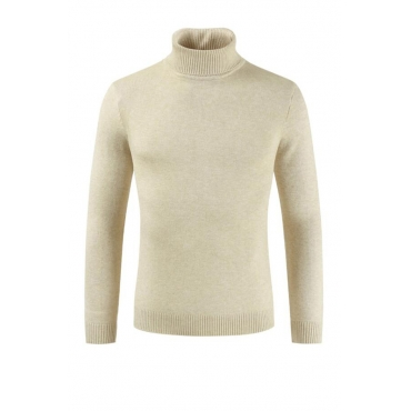 Lovely Christmas Day Turtleneck Beige Sweater
