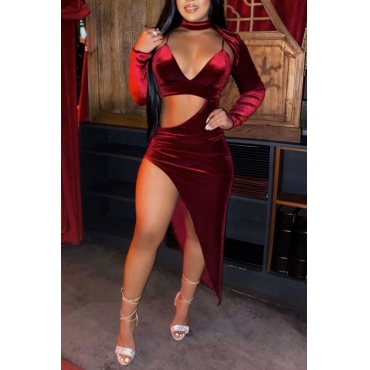 Lovely Sexy Turtleneck Hollow-out Red Ankle Length Dress
