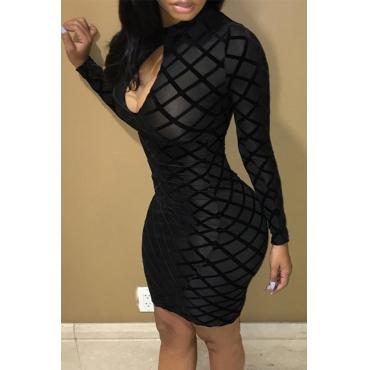 Lovely Chic Printed Skinny Black Mini Dress