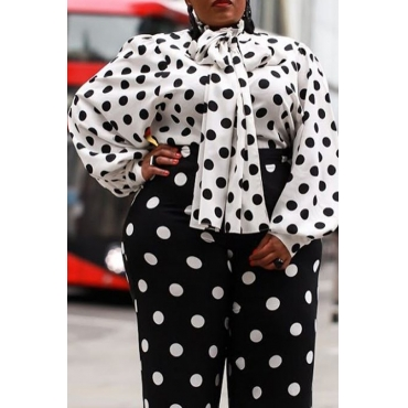 Lovely Trendy Dot Printed Black Plus Size Blouse