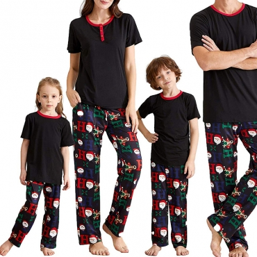 Lovely Family Printed Black Mother Two-piece Pants Set