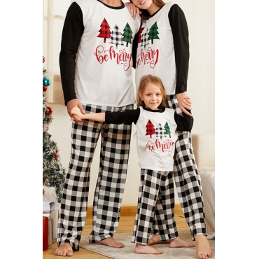 Lovely Family Printed White Mother Two-piece Pants Set