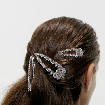 Lovely Casual Crystal Silver Alloy Hairpin