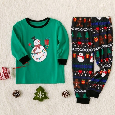 Lovely Family Santa Claus Printed Green Kids Two-piece Pants Set