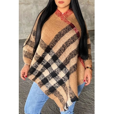 Lovely asual Mandarin Collar Plaid Printed Brown Sweater