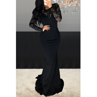 Lovely Party Patchwork Black Floor Length Dress