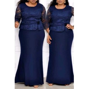 Lovely Casual Patchwork Dark Blue Floor Length Plus Size Dress