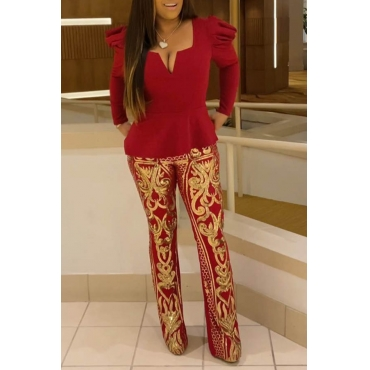 Lovely Trendy V Neck Printed Red Two-piece Pants Set