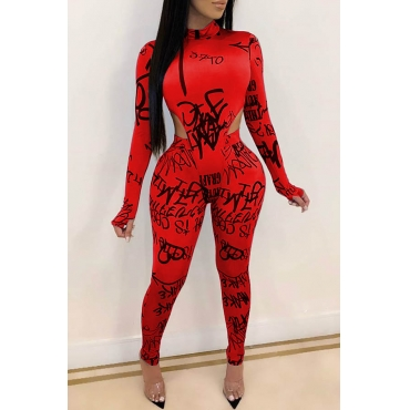 Lovely Chic Letter Printed Skinny Red Two-piece Pants Set
