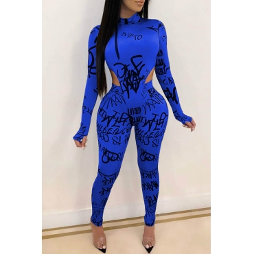 Lovely Chic Letter Printed Skinny Blue Two-piece Pants Set