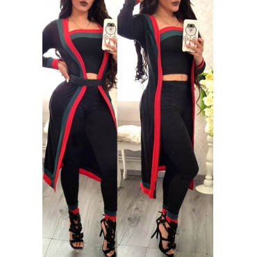 Lovely Trendy Patchwork Black Two-piece Pants Set