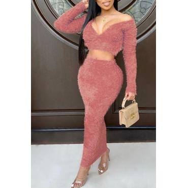 Lovely Trendy V Neck Skinny Pink Two-piece Skirt S