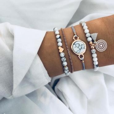 Lovely Trendy 4-piece White Bracelet