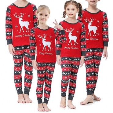 Lovely Family Printed Red Girls Two-piece Pants Set