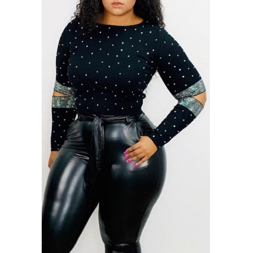 Lovely Casual O Neck Black T-shirt