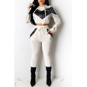 Lovely Casual Hooded Collar Patchwork White Two-piece Pants Set