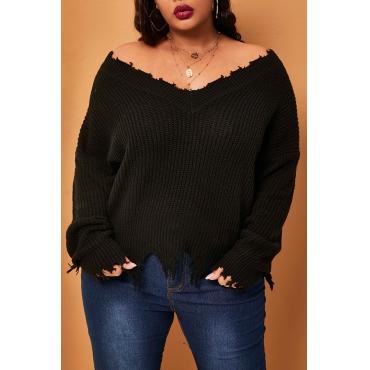 Lovely Casual V Neck Tassel Design Black Plus Size Sweater