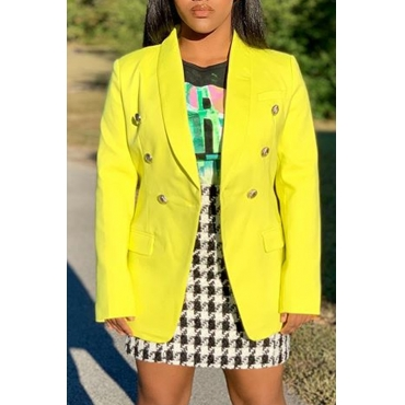 Lovely Casual Buttons Design Yellow Blazer