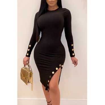 Lovely Casual Buttons Design Black Knee Length Dress