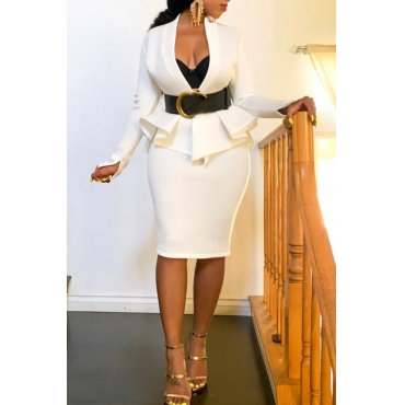 Lovely Work V Neck Flounce Design White Two-piece Skirt Set(Without Belt)